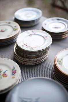 I read somewhere once that this bride and her mom collected mismatch pieces of china for months before the wedding and used it for the reception. I love that idea!