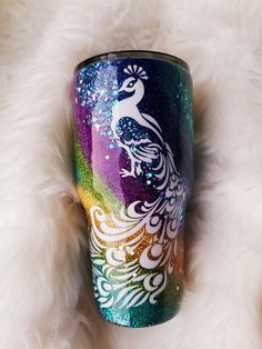 Peacock Travel Mug Vacuum Sealed Tumblers - Azcozy Diy Tumblers, Custom Tumblers, Glitter Tumblr, Tumblr Cup, Cup Crafts, Custom Cups, Tumbler Designs, Glitter Cups, Cup Design