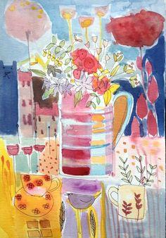 Original Watercolour Painting - Favourite Things- Signed Annabel Burton