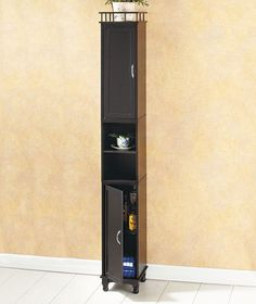 Black Slim Storage Cabinet Bathroom Shelf Laundry Room Kitchen Photo Display
