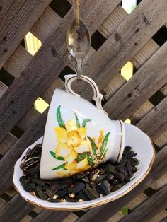Garden Bird Feeders, Silver Spoons, Perfect Gift For Her, Garden Ornaments, Upcycled Vintage, Teacup, Gifts For Mom, Espresso, Cups