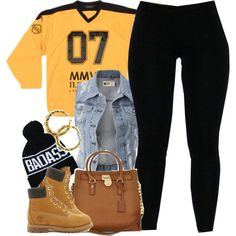 A fashion look from January 2015 featuring Timberland ankle booties, Michael Kors shoulder bags and Fergie earrings. Browse and shop related looks.