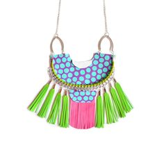 Mint Statement Necklace, Polka Dots Leather Necklace, Geometric Jewelry with Lime Green Tassels   Boo and Boo Factory - Handmade Leather Jewelry