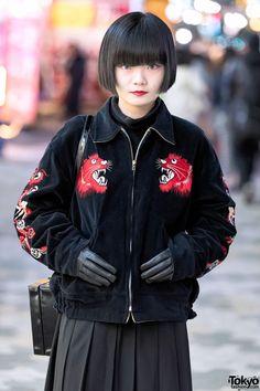 Black Bob Hair, Sukajan & Leather Gloves