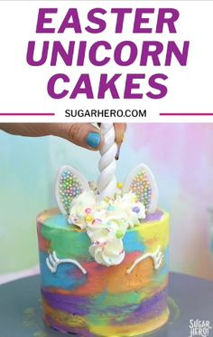 These bright mini Unicorn Cakes put a colorful spin on traditional unicorn cakes! The cake batter and the frosting are both swirled with a colorful watercolor effect, so these cheerful unicorns look m Easy Unicorn Cake, Unicorn Cake Pops, Unicorn Cakes, Unicorn Cake Images, 4th Birthday Cakes, Birthday Cakes For Children, Unicorn Birthday Cakes, Birthday Kids, Unicorn Party