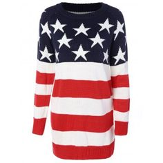 SHARE & Get it FREE | Flag Patterned Crew Neck Tunic SweaterFor Fashion Lovers only:80,000+ Items·FREE SHIPPING Join Dresslily: Get YOUR $50 NOW!