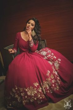 Cocktail Gowns - Shradha and Keshav | WedMeGood | Marsala Blown Skirt Gown with Golden Embroidery #wedmegood #indiangown #gown #cocktail #marsala #golden #cocktailgown #realwedding
