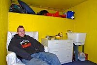 "U-Haul Smart Living - Chris Harne doesn't have to worry about paying rent since he purchased a 17 foot used U-Haul and made it his home.  He was inspired by his favorite children's book, ""The Box Car Children.""   It has a sink, easy chair & front porch. #livinginatruck #Motorhome"