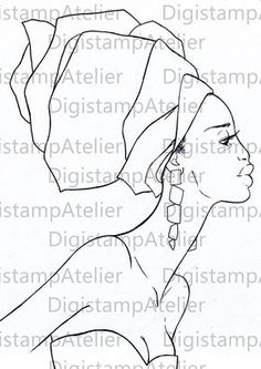 Black Profile. Colouring Page avaialble at Digistamp Atelier on Etsy. Do not copy or use without consent.. Thanks.