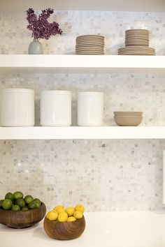Suzie: Amanda Teal Design - Chunky white floating shelves, taupe dinnerware, wood bowls and ...