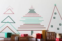 washi tape alternative christmas trees (via Morin Morin) Wall Christmas Tree, Christmas Love, Xmas Tree, All Things Christmas, Christmas Holidays, Christmas Decorations, December Holidays, Christmas Lights, Holiday Crafts