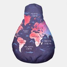 world map blue red Pufa