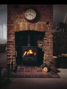 Inset stove...slightly arched brick