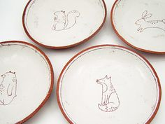 Set of 4 Woodland Animal Plates - Side Plates - Pasta Plates - Ceramic Plates - Ceramics and Pottery - Pottery Plates - MADE TO ORDER