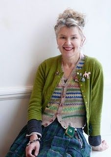 Julie Arkell  Love her hair and outfit.   An image of staying true to yourself while aging. Glorious.