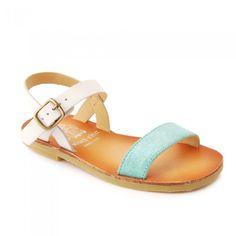 Flora II, Aqua Blue Sparkle Girls Buckle Classic Sandals - Girls Shoes