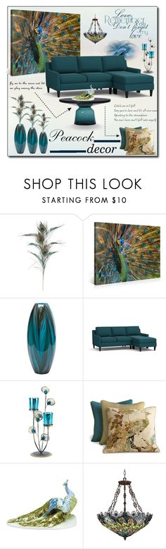 """""""Decorate with Peacock."""" by patria ❤ liked on Polyvore featuring interior, interiors, interior design, home, home decor, interior decorating, Pier 1 Imports, Pottery Barn, ClassiCon and Old Hickory Tannery"""