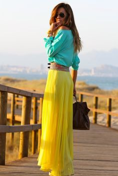 Ready for the beach? You can't wrong with this bright turquoise shirt and long yellow maxi skirt.