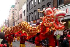 The Lion or Dragon Dance: a colourful Chinese dragon is used to celebrate Chinese New Year in Canada New Years Parade, Chinese New Year Parade, Chinese New Year Traditions, Chinese New Year Dragon, Chinese New Year Food, Year Of The Dragon, Year Of The Snake, Year Of The Horse, Chinese New Year Pictures