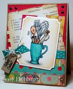 by Tammy Hershberger-Stamp Happy.  Flourishes Stamp: Mix n Mugs. Papers: Stampin Up cardstock; Flourishes Classic Ivory; Crate Paper-Emmas Shoppe.  Inks: Memento Tuxedo Black, Versafine Onyx Black  Accessories: .Copics; Spellbinders Labels; SU ribbon; Diving Twine; button; brads.