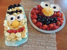 Elmo and Bert fun fruit platters for kids' parties. Read more about it on my website: http://bobbimullins.com/bobbis-blog-2/food-fitness-faith---elmo.html
