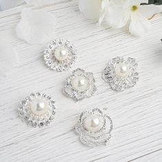 5 Pcs - Assorted Silver Plated Rhinestone Brooches with Pearl Center - Floral Sash Pin Brooch Bouquet Decor Silver Wedding Decorations, Pearl Decorations, Silver Weddings, Brooch Bouquets, Brooches, Bridal Bouquets, Pearl Bouquet, Wedding Chair Sashes, Floral Centerpieces