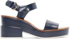 Jil Sander Navy - Blue Leather Slingback Sandals