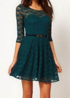 Green Half Sleeve Blet Lace Skater Dress