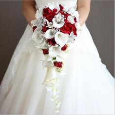 janevini 2018 waterfall red wedding flowers bridal bouquets artificial pearls crystal wedding bouquets bouquet de mariage rose bride brooch wedding Inspiration for You - CowlesNCP ~ Make your Wedding Ideas Calla Lily Bridal Bouquet, Cascading Wedding Bouquets, Calla Lily Wedding, Bridal Brooch Bouquet, Silk Wedding Bouquets, Bride Flowers, White Wedding Flowers, Wedding Flower Arrangements, Bride Bouquets
