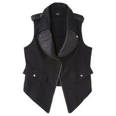 Mossimo® Women's Faux Leather Trim Moto Vest - Black
