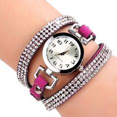Korean Fashion Women Rhinestone Bracelet Round Dial Analog Quartz Casual Watch Wristwatch