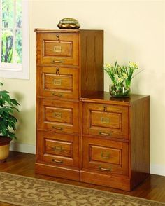 Warm Honey Wood Oak Four Drawer