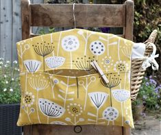 Handmade Scandi Floral Hanging Clothespin Clothes Peg Bag in Orange or Yellow Fabric Wooden Hangers, Wooden Pegs, Diy Clothespin Bag, Easy Crafts To Sell, Peg Bag, Craft Stalls, Sewing To Sell, Clothes Pegs, Fabric Gifts