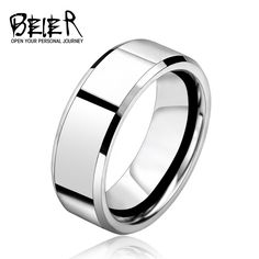 Silver Color Stainless Steel Men's 2016 Fashion Man Ring Cool Man's High Polished Man's Wedding Ring