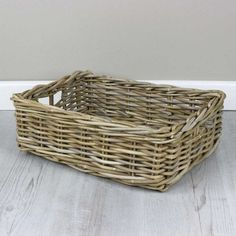 These grey and buff rattan baskets offer a sturdy, stylish and very useful storage solution for any room in the household. Available in 4 versatile sizes, they are woven by hand from durable rattan. Timeless storage you will be proud to have on display.  Please note: Due to the handmade nature of our baskets, the measurements we provide are just a guide so please allow a +/- 5% difference. Shades may also vary from the images shown as our products are made from natural materials. Rattan Basket, Big Houses, Storage Baskets, Natural Materials, Storage Solutions, Household, Regency House, Grey, Safety And Security