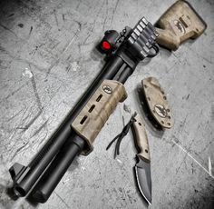Remington 870 shotgun with mini RDS alongside knife Home Defense, Self Defense, Revolver, Tactical Shotgun, Tactical Gear, Remington 870 Tactical, Tactical Knife, By Any Means Necessary, Custom Guns