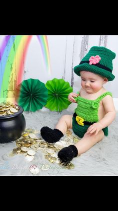 Adorable, handmade, Irish Baby outfit! The top of the hat is made over a regular round hat that fits babys head, so the hat will never go over babys