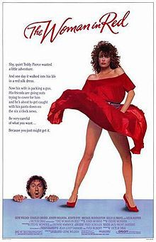 The Woman in Red    Promotional Film Poster //   Directed byGene Wilder  Produced byVictor Drai  Written byYves Robert (play)  Jean-Loup Dabadie (play)  Gene Wilder  StarringGene Wilder  Kelly LeBrock  Gilda Radner  Music byJohn Morris  Stevie Wonder  CinematographyFred Schuler  Distributed byOrion Pictures  Release date(s)  August 15, 1984