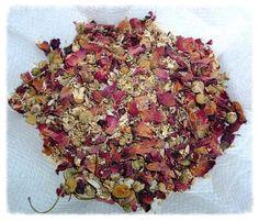Herbs:  Ruby Zinger Tea, a sensual, relaxing tea. Ingredients: rose petals, ginger root, chamomile, saffron, elder flowers.