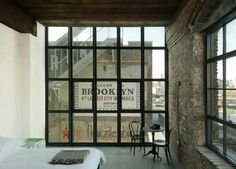 wear this there: wythe hotel. sfgirlbybay : floor to ceiling black steel framed windows in loft style room at the wythe hotel in williamsburg, brooklyn. Williamsburg Brooklyn, Interior Exterior, Interior Architecture, Interior Design, Architecture Mode, Interior Stylist, Design Interiors, Contemporary Architecture, Wythe Hotel Brooklyn