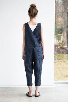 Linen jumpsuit. Charcoal washed linen /