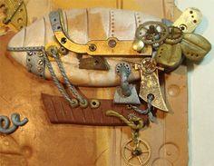 Türschild Luftschiff Steampunk handgemacht modelliert Uhrwerkteile