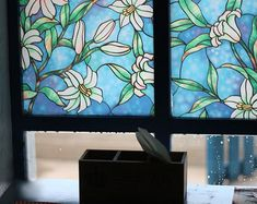 Decorative Privacy Stained Glass Window Film Nerja, No-glue Self Static Cling x - RoyalWallSkins Stained Glass Window Film, Window Glass, Frosted Window, Window Art, Window Privacy, Window Films, Bathroom Windows, Static Cling, Glass Shower Doors