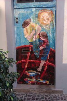 Painted door. Portugal
