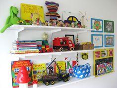 Kids shelf. Toys books.
