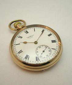 ANTIQUE c1913 WALTHAM TRAVELER POCKET WATCH, 14K GOLD /F ILLINOIS WATCH CO CASE