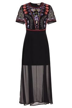 2327691bcb Frock and Frill Frieda Black Multicoloured Embellished Bodice Maxi Dress  with Short Sleeves Frocks