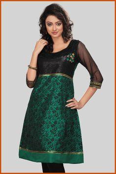 Green and Black Chanderi Readymade Kurta    Itemcode: TNK13    Price: US $46.40    Click here to shop: http://www.utsavfashion.com/store/item.aspx?icode=tnk13