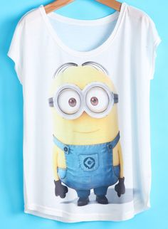 To find out about the White Short Batwing Sleeve Beedo Print T-shirt at SHEIN, part of our latest T-Shirts ready to shop online today! Manga Del Batwing, Batwing Sleeve, Minion Shirts, Minion Clothes, Pretty Outfits, Cool Outfits, Casual Outfits, Minion Outfit, Short Blanc