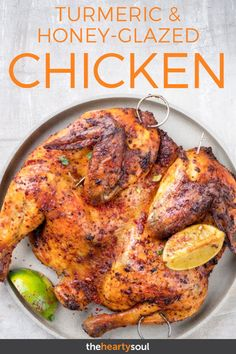 Turmeric and Honey-Glazed Chicken The warming combination of turmeric, ginger and coriander is an ea Roast Chicken Recipes, Roasted Chicken, Turmeric Recipes Chicken, Tandoori Chicken, Benefits Of Eating Avocado, Best Nutrition Food, Nutrition Websites, Nutrition Store, Nutrition Articles